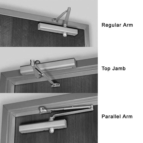 8101DA-689 Norton 8000 Series Non-Hold Open Door Closers with Regular Parallel and Top Jamb to 3 inch Reveal in Aluminum Finish