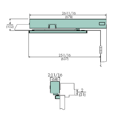 7114SZ-RH-120VAC-689 Norton 7100SZ Series Safe Zone Multi-Point Closer/Holder with Motion Sensor and Pull Side Rigid Arm and Slide Track in Aluminum Finish