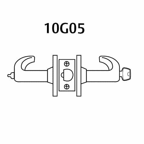 28-10G05-GL-04 Sargent 10 Line Cylindrical Entry/Office Locks with L Lever Design and G Rose in Satin Brass