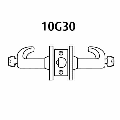 28-10G30-GL-04 Sargent 10 Line Cylindrical Communicating Locks with L Lever Design and G Rose in Satin Brass