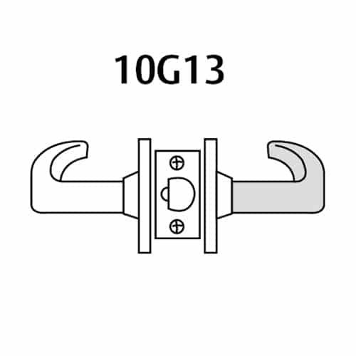 28-10G13-LB-04 Sargent 10 Line Cylindrical Exit Locks with B Lever Design and L Rose in Satin Brass
