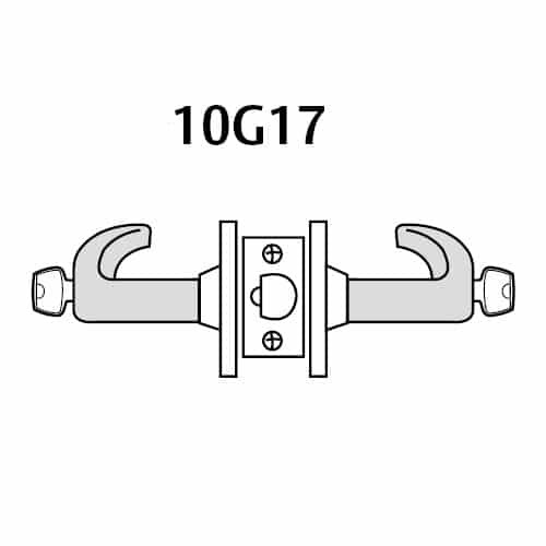 28LC-10G17-GL-04 Sargent 10 Line Cylindrical Institutional Locks with L Lever Design and G Rose Less Cylinder in Satin Brass