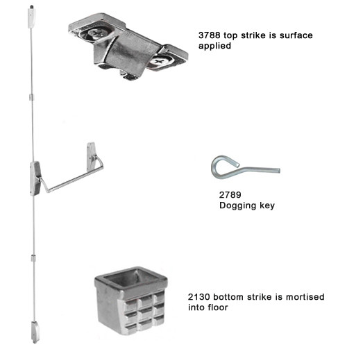 XX-V-L-DANE-US32D-RHR Falcon XX Series Surface Vertical Rod Device with 812L Dane Lever Trim in Satin Stainless Steel