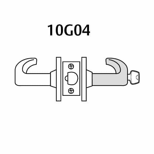 2860-10G04-GL-04 Sargent 10 Line Cylindrical Storeroom/Closet Locks with L Lever Design and G Rose Prepped for LFIC in Satin Brass
