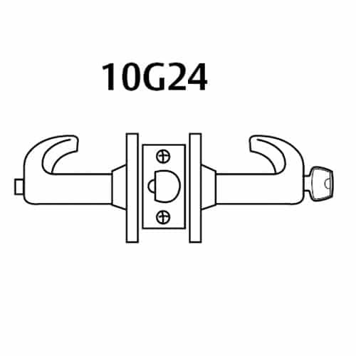 2860-10G24-GL-03 Sargent 10 Line Cylindrical Entry Locks with L Lever Design and G Rose Prepped for LFIC in Bright Brass