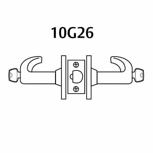 2860-10G26-GL-04 Sargent 10 Line Cylindrical Storeroom Locks with L Lever Design and G Rose Prepped for LFIC in Satin Brass