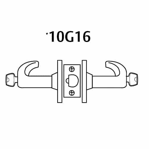 2860-10G16-LB-03 Sargent 10 Line Cylindrical Classroom Locks with B Lever Design and L Rose Prepped for LFIC in Bright Brass