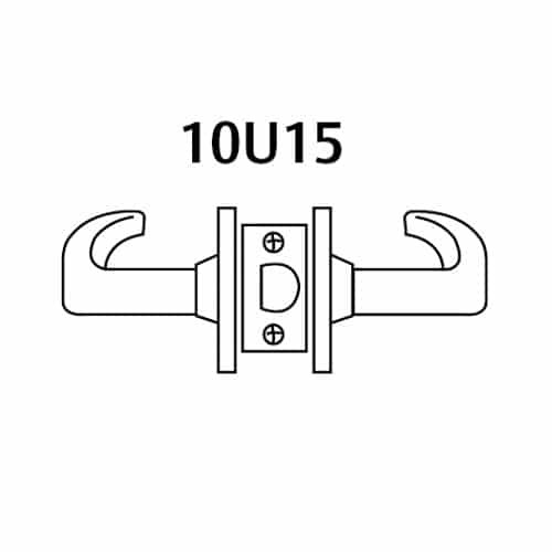 28-10U15-LL-03 Sargent 10 Line Cylindrical Passage Locks with L Lever Design and L Rose in Bright Brass