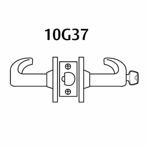 2860-10G37-LP-04 Sargent 10 Line Cylindrical Classroom Locks with P Lever Design and L Rose Prepped for LFIC in Satin Brass