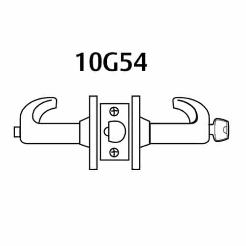 28LC-10G54-LP-03 Sargent 10 Line Cylindrical Dormitory Locks with P Lever Design and L Rose Less Cylinder in Bright Brass