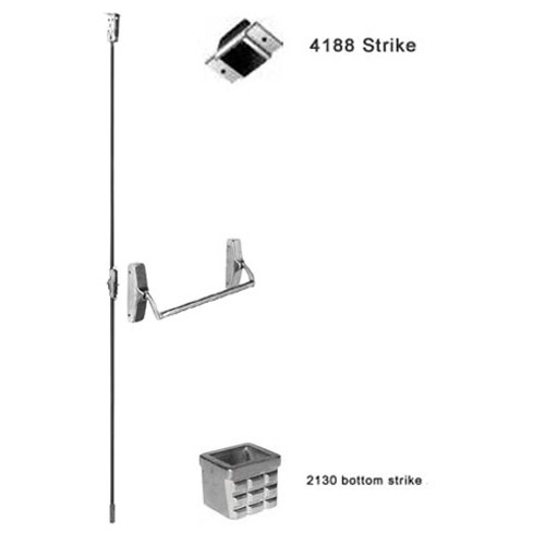 F-XX-C-K-BE-US3-LHR Falcon XX Series Fire Rated Concealed Vertical Rod Device 711K-BE Knob Trim with Blank Escutcheon in Bright Brass