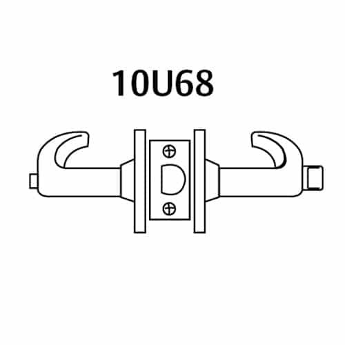 28-10U68-LP-03 Sargent 10 Line Cylindrical Hospital Privacy Locks with P Lever Design and L Rose in Bright Brass