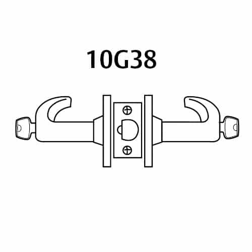 28-10G38-GB-03 Sargent 10 Line Cylindrical Classroom Locks with B Lever Design and G Rose in Bright Brass