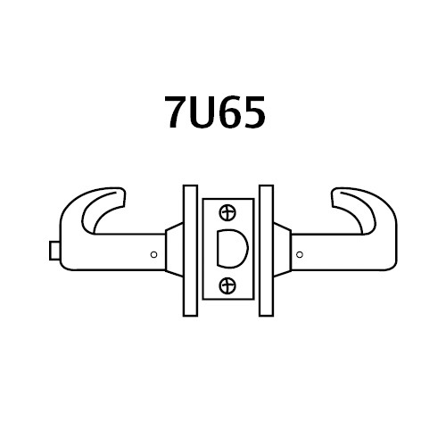 28-7U65-LB-03 Sargent 7 Line Cylindrical Privacy Locks with B Lever Design and L Rose in Bright Brass