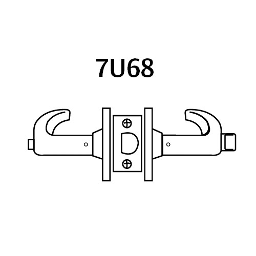 28-7U68-LB-26 Sargent 7 Line Cylindrical Hospital/Privacy Locks with B Lever Design and L Rose in Bright Chrome