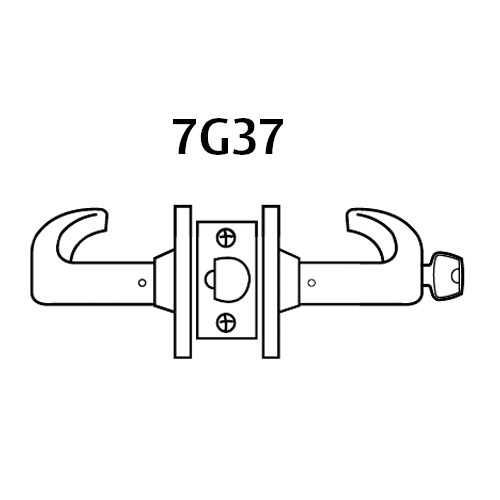 28LC-7G37-LB-04 Sargent 7 Line Cylindrical Classroom Locks with B Lever Design and L Rose Less Cylinder in Satin Brass