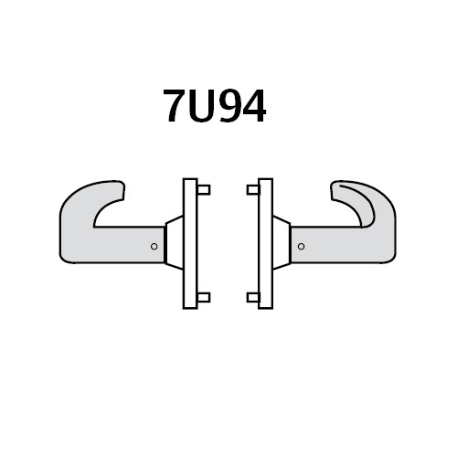 28-7U94-LP-04 Sargent 7 Line Cylindrical Double Lever Pull with P Lever Design and L Rose in Satin Brass