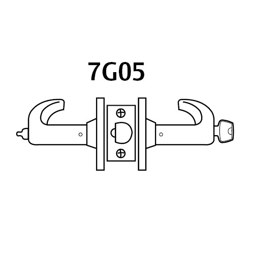2870-7G05-LP-03 Sargent 7 Line Cylindrical Entrance/Office Locks with P Lever Design and L Rose Prepped for SFIC in Bright Brass