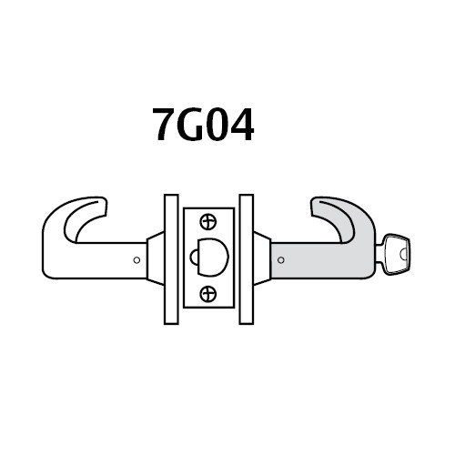 28LC-7G04-LP-04 Sargent 7 Line Cylindrical Storeroom/Closet Locks with P Lever Design and L Rose Less Cylinder in Satin Brass