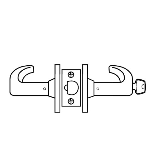 28LC-65G37-KL-03 Sargent 6500 Series Cylindrical Classroom Locks with L Lever Design and K Rose Less Cylinder in Bright Brass
