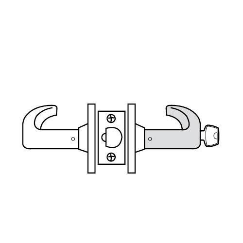 28LC-65G04-KB-26 Sargent 6500 Series Cylindrical Storeroom/Closet Locks with B Lever Design and K Rose Less Cylinder in Bright Chrome