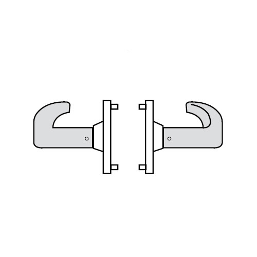 28-65U94-KP-04 Sargent 6500 Series Cylindrical Double Lever Pull with P Lever Design and K Rose in Satin Brass