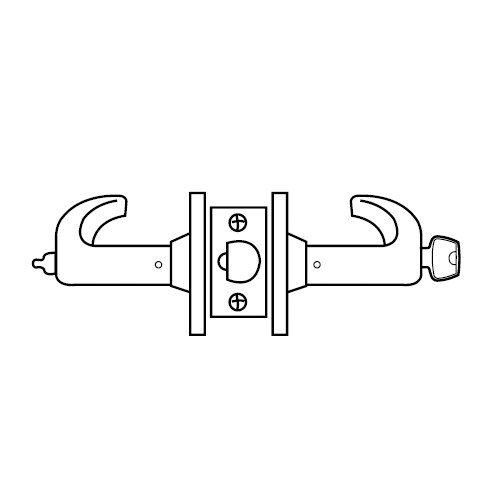 28LC-65G05-KP-03 Sargent 6500 Series Cylindrical Entrance/Office Locks with P Lever Design and K Rose Less Cylinder in Bright Brass