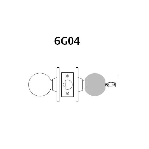 28-6G04-OB-03 Sargent 6 Line Series Knob Storeroom/Closet Locks with B Knob Design and O Rose in Bright Brass