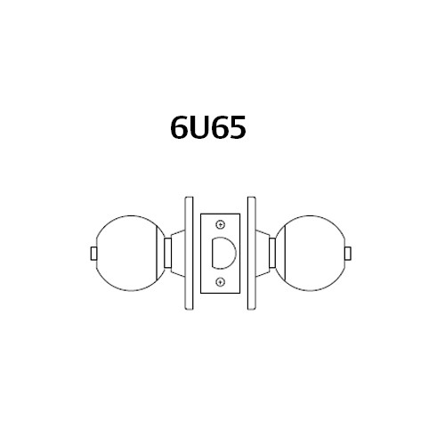 28-6U65-OB-26 Sargent 6 Line Series Knob Privacy Locks with B Knob Design and O Rose in Bright Chrome