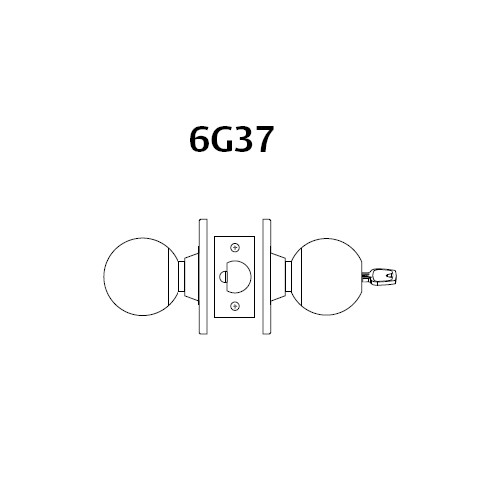 28LC-6G37-BS-26 Sargent 6 Line Series Knob Classroom Locks with S Knob Design and B Rose Less Cylinder in Bright Chrome