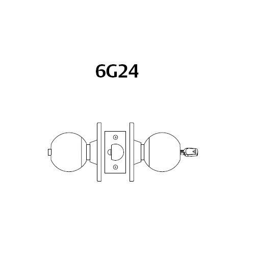 28LC-6G24-OB-03 Sargent 6 Line Series Knob Dormitory Locks with B Knob Design and O Rose Less Cylinder in Bright Brass