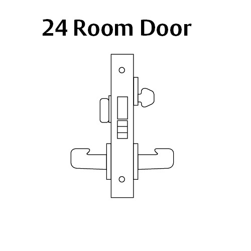 8224-LNP-03 Sargent 8200 Series Room Door Mortise Lock with LNP Lever Trim and Deadbolt in Bright Brass