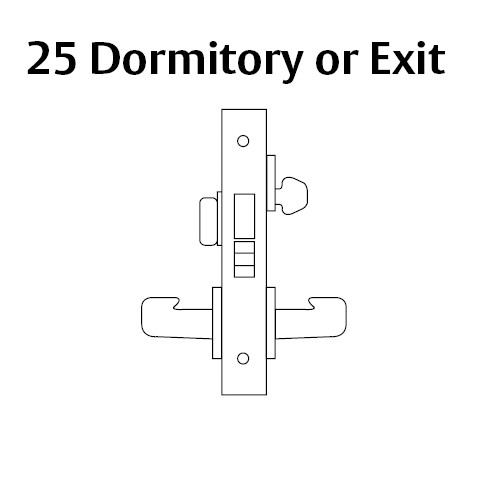 8225-LNB-26 Sargent 8200 Series Dormitory or Exit Mortise Lock with LNB Lever Trim and Deadbolt in Bright Chrome