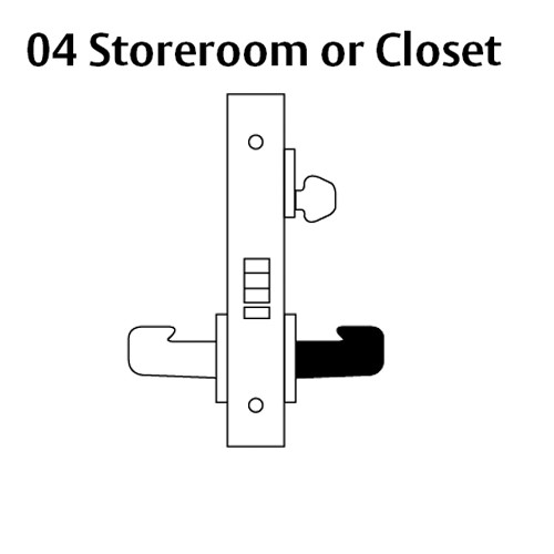LC-8204-LNL-03 Sargent 8200 Series Storeroom or Closet Mortise Lock with LNL Lever Trim Less Cylinder in Bright Brass