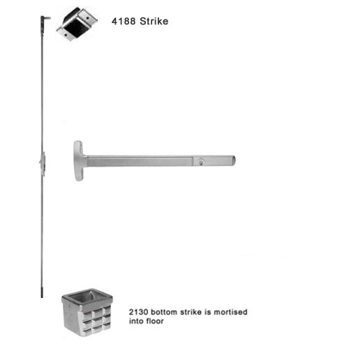 CD24-C-L-BE-DANE-US4-2-RHR Falcon 24 Series Concealed Vertical Rod Device 712L-BE Dane Lever Trim with Blank Escutcheon in Satin Brass