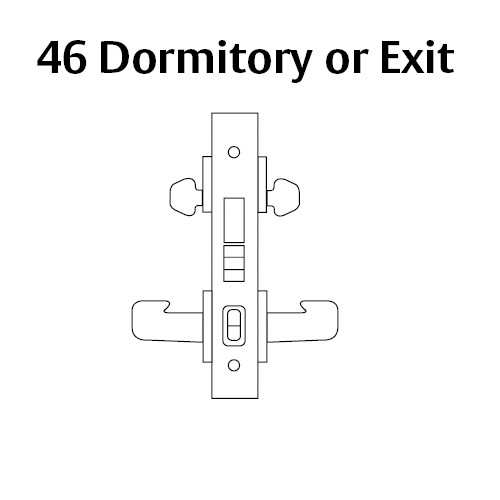 LC-8246-LNB-04 Sargent 8200 Series Dormitory or Exit Mortise Lock with LNB Lever Trim Less Cylinder in Satin Brass