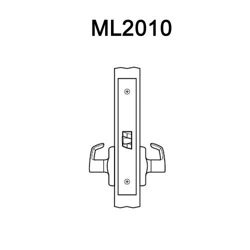 ML2010-RWA-606 Corbin Russwin ML2000 Series Mortise Passage Locksets with Regis Lever in Satin Brass