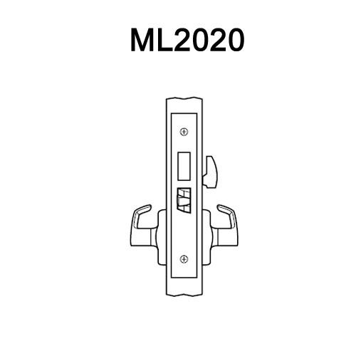 ML2020-RWA-605 Corbin Russwin ML2000 Series Mortise Privacy Locksets with Regis Lever in Bright Brass