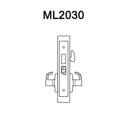 ML2030-RWA-618 Corbin Russwin ML2000 Series Mortise Privacy Locksets with Regis Lever in Bright Nickel
