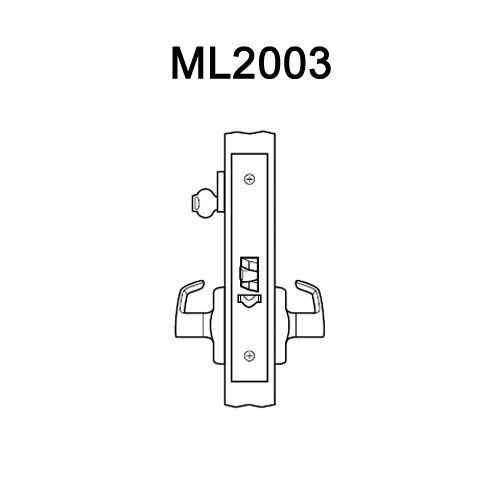 ML2003-RWA-626 Corbin Russwin ML2000 Series Mortise Classroom Locksets with Regis Lever in Satin Chrome