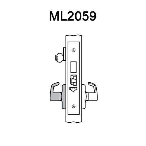 ML2059-RWA-629 Corbin Russwin ML2000 Series Mortise Security Storeroom Locksets with Regis Lever and Deadbolt in Bright Stainless Steel