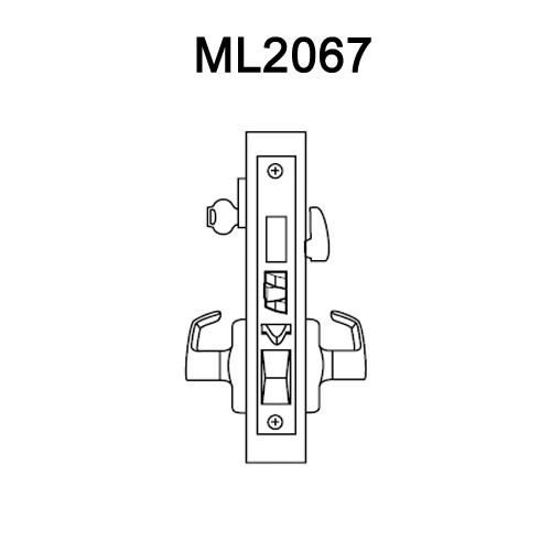 ML2067-RWA-618 Corbin Russwin ML2000 Series Mortise Apartment Locksets with Regis Lever and Deadbolt in Bright Nickel