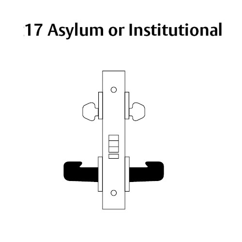 LC-8217-LNF-26 Sargent 8200 Series Asylum or Institutional Mortise Lock with LNF Lever Trim Less Cylinder in Bright Chrome