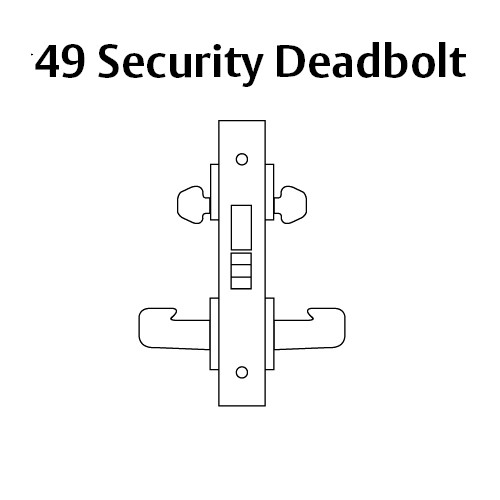 8249-LNW-03 Sargent 8200 Series Security Deadbolt Mortise Lock with LNW Lever Trim in Bright Brass