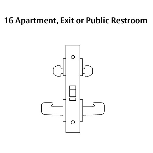 LC-8216-LNW-26 Sargent 8200 Series Apartment or Exit Mortise Lock with LNW Lever Trim Less Cylinder in Bright Chrome