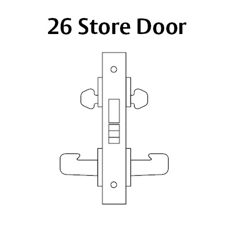 LC-8226-LNW-26 Sargent 8200 Series Store Door Mortise Lock with LNW Lever Trim Less Cylinder in Bright Chrome