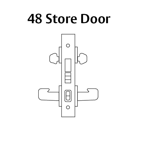 8248-LNA-26D-RH Sargent 8200 Series Store Door Mortise Lock with LNA Lever Trim and Deadbolt in Satin Chrome