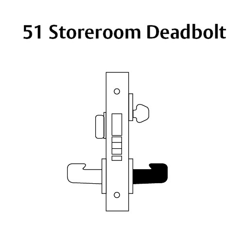 LC-8251-LNA-04-LH Sargent 8200 Series Storeroom Deadbolt Mortise Lock with LNA Lever Trim and Deadbolt Less Cylinder in Satin Brass