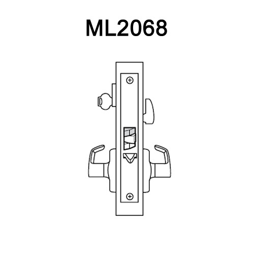 ML2068-PSA-625 Corbin Russwin ML2000 Series Mortise Privacy or Apartment Locksets with Princeton Lever in Bright Chrome