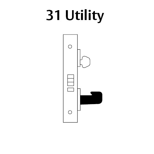 LC-8231-LNA-03-RH Sargent 8200 Series Utility Mortise Lock with LNA Lever Trim Less Cylinder in Bright Brass